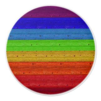 Rainbow on Wood Ceramic Knob
