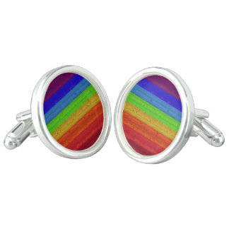 Rainbow on Wood Cufflinks