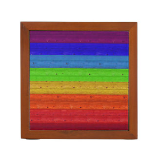 Rainbow on Wood Desk Organiser