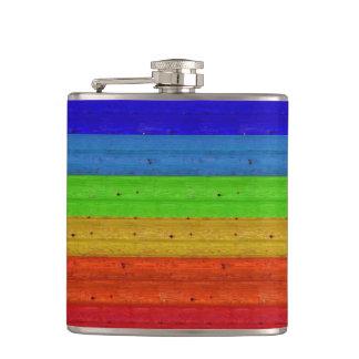 Rainbow on Wood Hip Flask