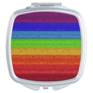 Rainbow on Wood Makeup Mirrors