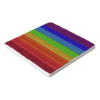 Rainbow on Wood Trivet