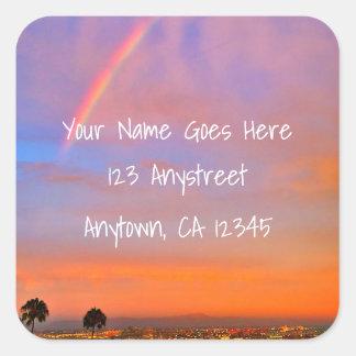 Rainbow orange pink sunrise photo custom address square sticker
