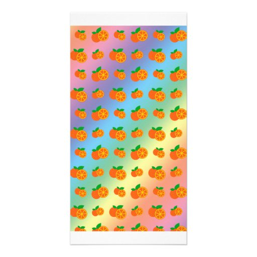 Rainbow oranges pattern photo greeting card