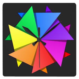 rainbow origami square wall clock