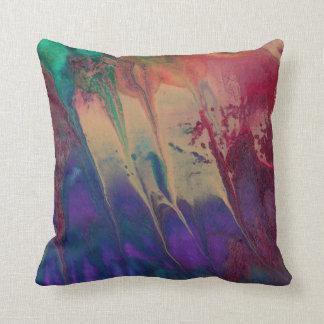 Rainbow Original Painting Bright Colourful Cushion