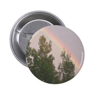 Rainbow Over Cedar  Trees 6 Cm Round Badge