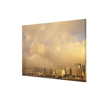 Rainbow over Honolulu, Hawaii, USA 3 Gallery Wrapped Canvas