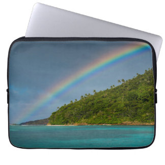 Rainbow over island, American Samoa Laptop Sleeve