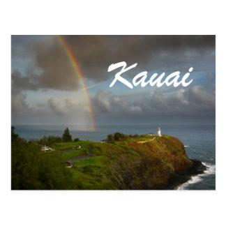 Rainbow over Kilauea Lighthouse text postcard