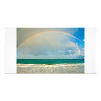 Rainbow over ocean customized photo card