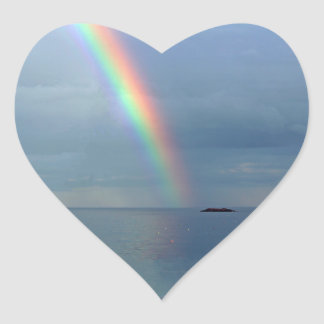 Rainbow over Ocean Heart Sticker