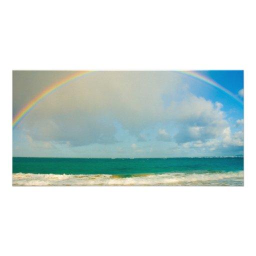 Rainbow over ocean photo cards