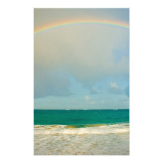Rainbow over ocean stationery design