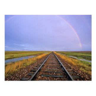 Rainbow over railroad tracks near Fairfield Postcard