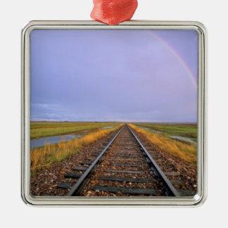Rainbow over railroad tracks near Fairfield Silver-Colored Square Decoration