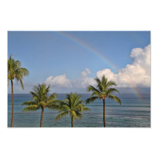 Rainbow over the Ocean with Palm Trees Photo Print