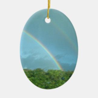 Rainbow over Warwickshire Ceramic Ornament