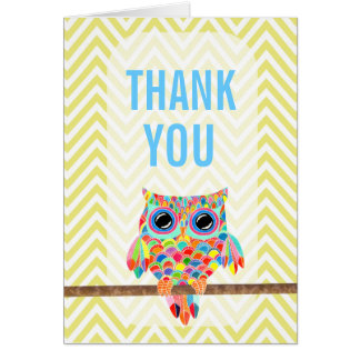 Rainbow Owl Chevron Thank You Card