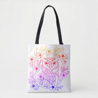 Rainbow owl tote bag