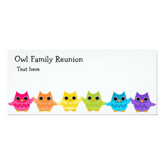 Rainbow Owls 10 Cm X 24 Cm Invitation Card