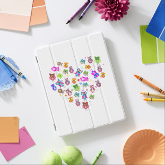Rainbow owls heart stars iPad cover