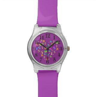 Rainbow owls purple wrist watches