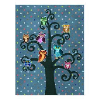 Rainbow Owls sitting on the tree Postcard