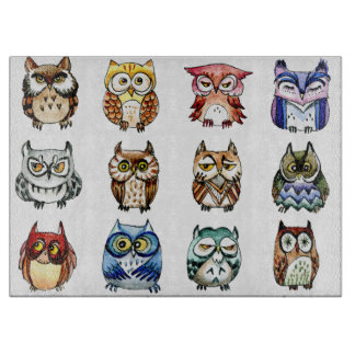 Rainbow owls  watercolor cutting board