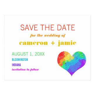 Rainbow Paint Heart Gay Lesbian Save the Date Postcard