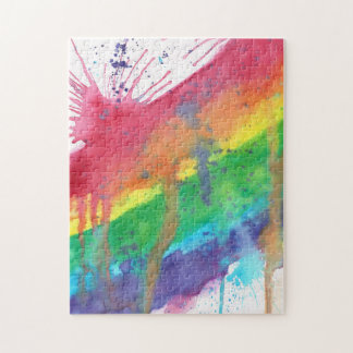 Rainbow Paint Splatter Jigsaw Puzzle