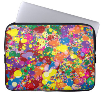 Rainbow Paint Splatter Laptop Sleeve