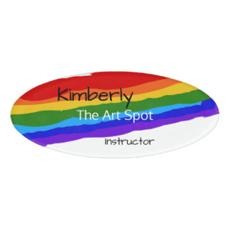 Rainbow Paint Strokes Personalised Name Tag