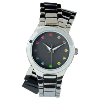 Rainbow Painted Paw Prints as Numbers Black Faced Watch