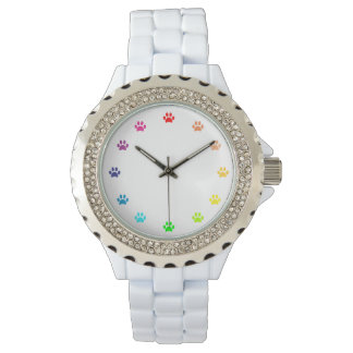 Rainbow Painted Paw Prints as Numbers Wristwatch