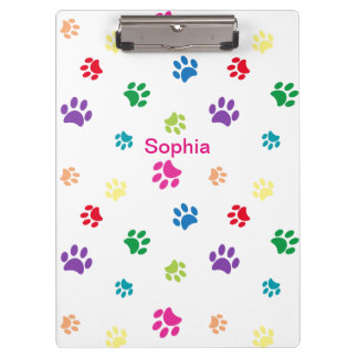 Rainbow Painted Paw Prints Clipboard