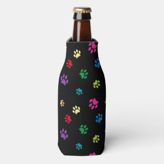Rainbow Painted Paw Prints (dark) Bottle Cooler