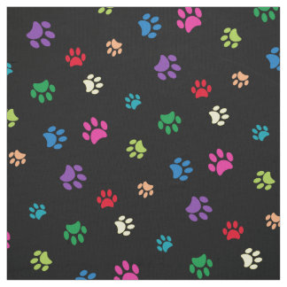 Rainbow Painted Paw Prints (dark) Fabric