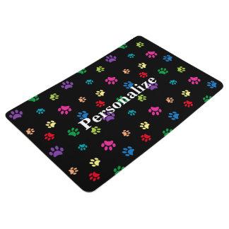 Rainbow Painted Paw Prints (dark) Floor Mat
