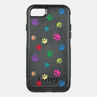 Rainbow Painted Paw Prints (dark) OtterBox Commuter iPhone 8/7 Case