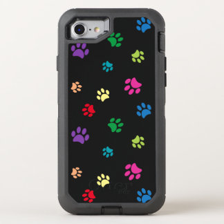 Rainbow Painted Paw Prints (dark) OtterBox Defender iPhone 8/7 Case