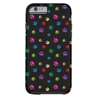Rainbow Painted Paw Prints (dark) Tough iPhone 6 Case