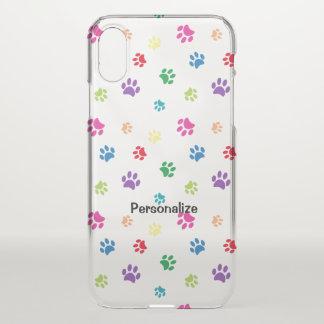 Rainbow Painted Paw Prints iPhone X Case