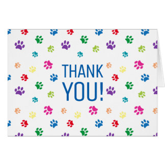 Rainbow Painted Paw Prints | Thank You Card