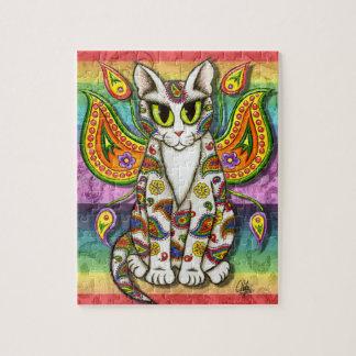 Rainbow Paisley Fairy Cat Fantasy Art Puzzle