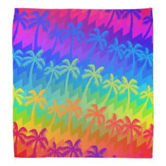 Rainbow palm trees bandana