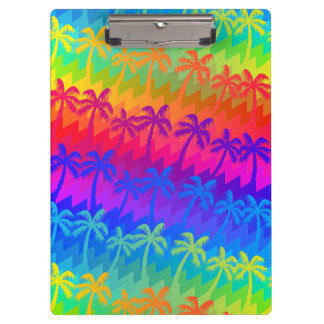 Rainbow palm trees clipboard