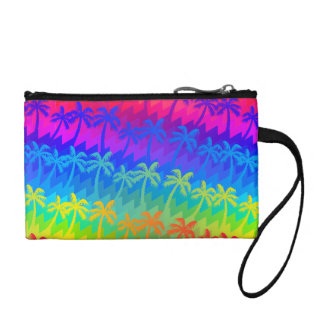Rainbow palm trees coin purse