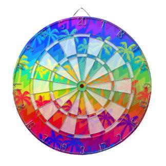 Rainbow palm trees dartboard