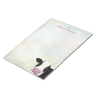 Rainbow Pastel Black & White Cow Large Notepad